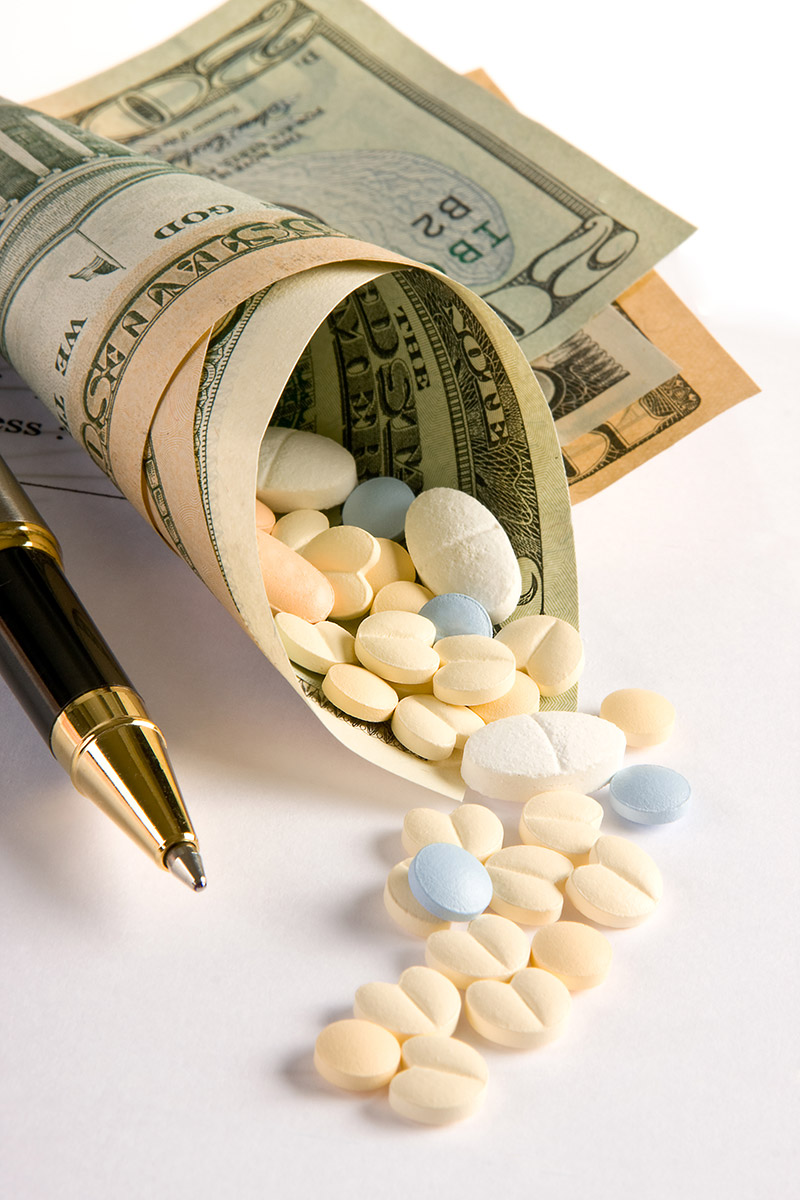 Pills wrapped in money